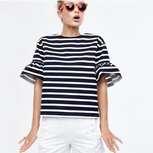 J. Crew Bell Sleeve Black/White Stripe Top